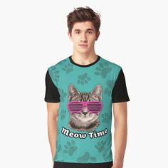 """Meow Time!"" Graphic T-Shirt by wowarts 