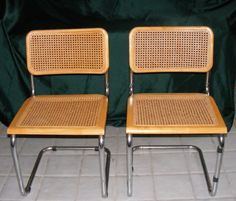 """Pair BREUER Dining Chairs, Wooden Woven Wicker Metal Frame Dining Chair, 31"""" Ht #Breuer #Contemporary"""