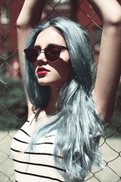 long blue hair   #pastelhair #hair #hairstyle #fashion #style #trend #cute #model #girl #girly #cool #grunge #glamour #blue #grey