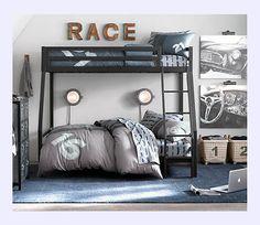 Habitaciones infantiles con literas y decoradas con coches