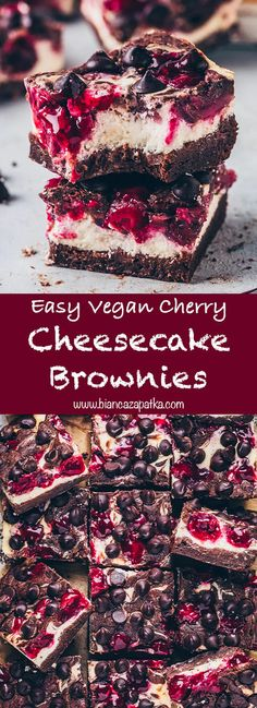 These fudgy vegan cherry cheesecake swirl brownies are easy to make gluten-free and so delicious! They combine amazing swirls of creamy, moist and rich cheesecake with a juicy fruit layer topping betw Easy Cake Recipes, Vegan Sweets, Healthy Dessert Recipes, Brownie Recipes, Sweet Recipes, Health Desserts, Cherry Recipes Vegan, Cheesecake Swirl Brownies, Vegan Cheesecake