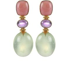 Arunashi Pink Opal, Amethyst and Prenite Earrings ($4,650) ❤ liked on Polyvore