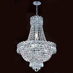 Worldwide Lighting Corp Empire Eight Light Chrome Finish With Clear Crystals Chandelier On SALE