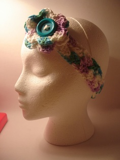 Colorful Crochet Headband with attached flower by toppytoppy