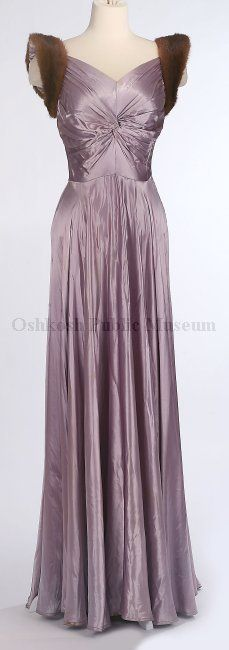 Dress - c. 1930's - Oshkosh Public Museum -Not overly keen on the fur sleeves but the dress itself is pretty :)