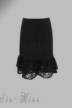 Below the Knee slip/skirt Extender Gartered waist pencil cut skirt lining with tiered ruffle lace trim contrast  http://www.sis-miss.com/