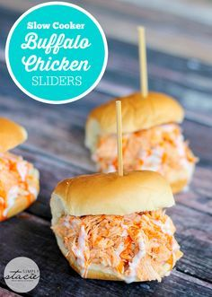 Slow Cooker Buffalo Chicken Sliders - Tender chicken seasoned with Frank's wing sauce and topped with Ranch dressing. These sliders are always a hit!