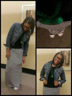 Striped maxi skirt with denim jacket and converse! Comfort fashion!