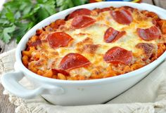 Family-friendly dinners don't get much easier than this Dump and Bake Pizza Pasta Casserole!