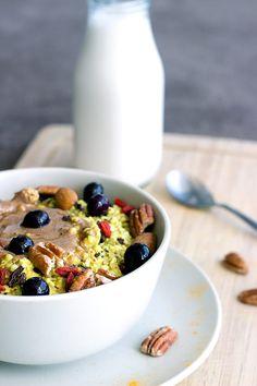 Buckwheat Turmeric Porridge via Teffy's Perks #porridge #breakfast #turmeric
