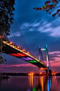 The light bridge.Vidyasagar Setu, also known as the Second Hooghly Bridge, is a toll bridge over the Hooghly River in West Bengal, India, linking the cities of Kolkata and Howrah by Binoy Shaw on Kolkata, Places To Travel, Places To See, Places Around The World, Around The Worlds, Love Bridge, Belle Villa, Covered Bridges, To Infinity And Beyond