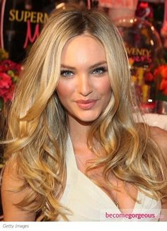 About 24 Inches Indian Human Hair Long Wavy Golden Candice Swanepoel Hairstyle Lace Front Wig Twist Hairstyles, Curled Hairstyles, Celebrity Hairstyles, Pretty Hairstyles, Blowout Hairstyles, Carmel Hair Color, Carmel Blonde, Indian Human Hair, Corte Y Color