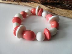 Retro White and Coral Pink High Gloss by JustJoJewellery on Etsy, £4.00