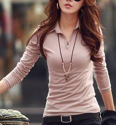 Cute shirt, like the color, fit and neckline Fashion Wear, Modest Fashion, Look Fashion, Fashion Dresses, Fashion Sewing, Ladies Shirts Formal, Girls Western Wear, Latest Fashion For Women, Womens Fashion