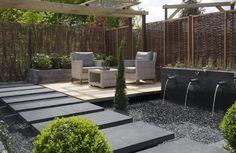 Voorbeeldtuin GeoPiazza, kleur Milano. Terrastegels, tuintegels, betontegels, terras, sierbestrating, bestrating, tegels, inrichting, inrichten, ideeen, vloer, MBI De Steenmeesters, moderne tuin