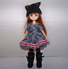 Handmade Lottie doll clothes - dress, leggings, hat and boots outfit set by FabriMagoDolls on Etsy
