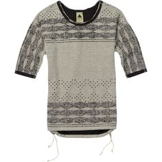 BURTON Women's Polly Crew Top, X-Large, Eclipse Heather. Bottom hem drawcord. Reversible style. Classic fit. Dropped armholes.