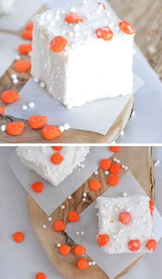 Festive Marshmallows with Orange Sprinkles | 40 Halloween Party Food Ideas for Kids | Easy Halloween Treats for Kids