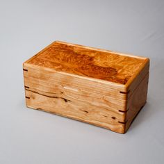 Wood Jewelry Box, Memory Box. Cherry Body With A Coral Maple Burl Lid. The…