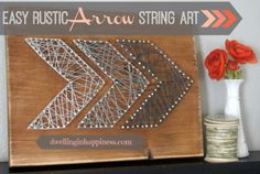 DIY String Art Projects - Easy Rustic Arrow String Art - Cool, Fun and Easy Letters, Patterns and Wall Art Tutorials for String Art - How to Make Names, Words, Hearts and State Art for Room Decor and DIY Gifts - fun Crafts and DIY Ideas for Teens and Adults http://diyprojectsforteens.com/diy-string-art-projects