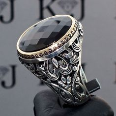 925 Sterling Silver Mens Ring with Black Onyx Unique artisan jewelry #KaraJewels #Turkish