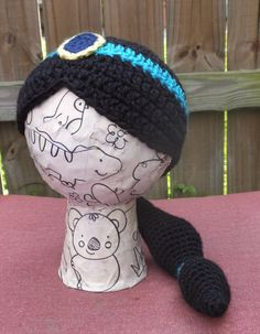 Princess+Jasmine+Hat+/+Wig+toddler+size+13+by+StrungOutFiberArts,+$32.00
