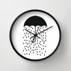 Hey, I found this really awesome Etsy listing at https://www.etsy.com/listing/200122743/pessimist-umbrella-rain-drop-wall-clock