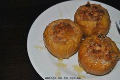 Manzanas asadas rellenas de cheescake - Cheescake baked stuffed apples