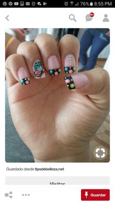 French Manicure Nails, Manicure E Pedicure, French Nails, Diy Nails, Black Nail Designs, Nail Art Designs, Love Nails, Pretty Nails, Dot Nail Art