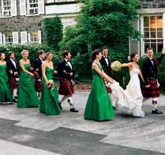 emerald green bridesmaids, assemble! I think we should make the guys wear the skirts too! Haha