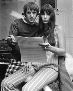 Sonny Bono and Cher in a Recording Studio in Aid of the Braille Institute