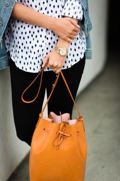 Ikat button down & bucket bag.