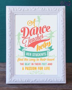 RESERVED FOR ALICIA- Dance Teacher Gift Printable -Dance Instructor Keepsake - Instant Download - Dance Recital Gift - Thank You by DancinDarling