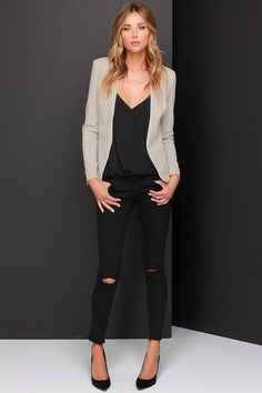 Don't like the holes in the jeans, but that shirt and blazer are lovely!