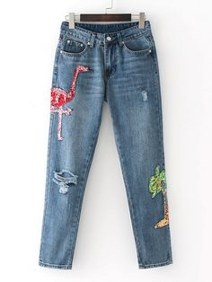 SheIn offers High Waist Sequin Detail Ripped Jeans & more to fit your fashionable needs. Distressed Denim Jeans, Blue Denim Jeans, Denim Skinny Jeans, High Waisted Denim Jeans, High Waist Jeans, How To Wear Sneakers, Shoes With Jeans, Jean Outfits, Flamingo Print