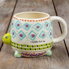 """I Turtley Love You"" Turtle Folk Art Mug Ceramic 3.25 in L x 3.25 in W x 4 in H Dishwasher and microwave safe."