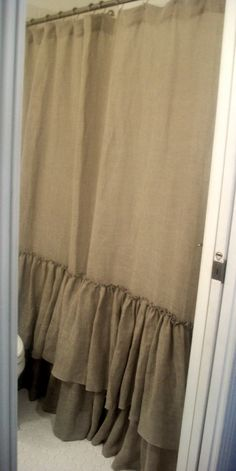 Linen shower curtain.