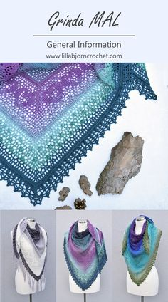 Grinda Shawl By Tatsiana - Free Crochet Pattern In 5 Parts - (lillabjorncrochet) Grinda MAL (make-a-long): General Information. Everything you need to know to get your yarn and crochet hook ready. Crochet Bolero, Crochet Shawls And Wraps, Crochet Scarves, Crochet Lace, Crochet Stitches, Crochet Hooks, Crochet Clothes, Free Crochet, Crochet Vests