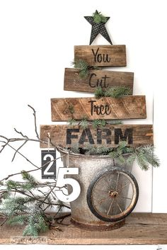You Cut Tree Farm with Funky Junk's Old Sign Stencils. Paint professional looking Christmas tree signs onto reclaimed wood in minutes with this festive stencil! Christmas tree graphic is included. Pallet Projects Christmas, Pallet Christmas Tree, Mini Christmas Tree, Beautiful Christmas Trees, Diy Pallet Projects, Rustic Christmas, Christmas Christmas, Vintage Christmas, Christmas Signs Wood