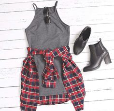 Grey thigh length stretchy dress, plaid flannel and black heeled boots. tammielouiseex