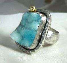 Blue Druzy Chrysocolla stone #ring,  Just look at the depth in this stone like the ocean.