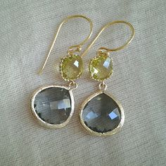 Charcoal and light olivine glass dangle earringDangle by Sofinuni, $22.99
