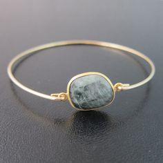 Cats Eye Bracelet Greenish Grey Gemstone Bracelet by FrostedWillow