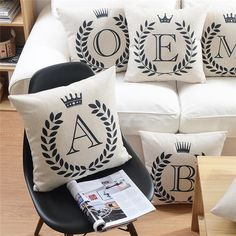 Letters Cushions Decorative Pillow Almofada Linen Cotton Throw Pillow Cushion for Car Sofa Home Decor Cojines Vintage No filler #clothing,#shoes,#jewelry,#women,#men,#hats,#watches,#belts,#fashion,#style