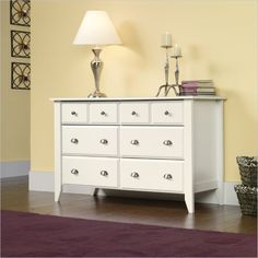SAUDER Dressers Shoal Creek Collection White 6-Drawer Dresser, Soft White 411201