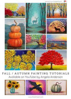 Angela Anderson Art Blog: Free Fall/Autumn Themed Painting Tutorials Fall Tree Painting, Iris Painting, Fall Paintings, Canvas Painting Tutorials, Painting Lessons, Art Lessons, Easy Canvas Art, Acrylic Artwork, Autumn Art