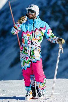 The Geodisiac Men's Retro Neon Ski Suit Wallpaper Cross, Kaws Wallpaper, Retro Ski Suit, Ski Club, Ski Fashion, Fashion Guide, Daily Fashion, Mens Fashion, Mens Skis