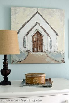 Country Church Painting for a Farmhouse Bedroom oilpainting churchpainting wallart canvasart countrydecor Diy Canvas, Canvas Wall Art, Canvas Art Projects, Diy Wall Art, Diy Art, Painting On Wood, Painting & Drawing, Farmhouse Paintings, Country Paintings