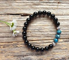 Blue Sea Sediment Jasper & Black Onyx Gemstone Bead Bracelet by TJBsimplebeauty on Etsy
