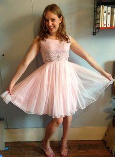 vintage '50S chiffon light pink beaded dress by pinkbanana3